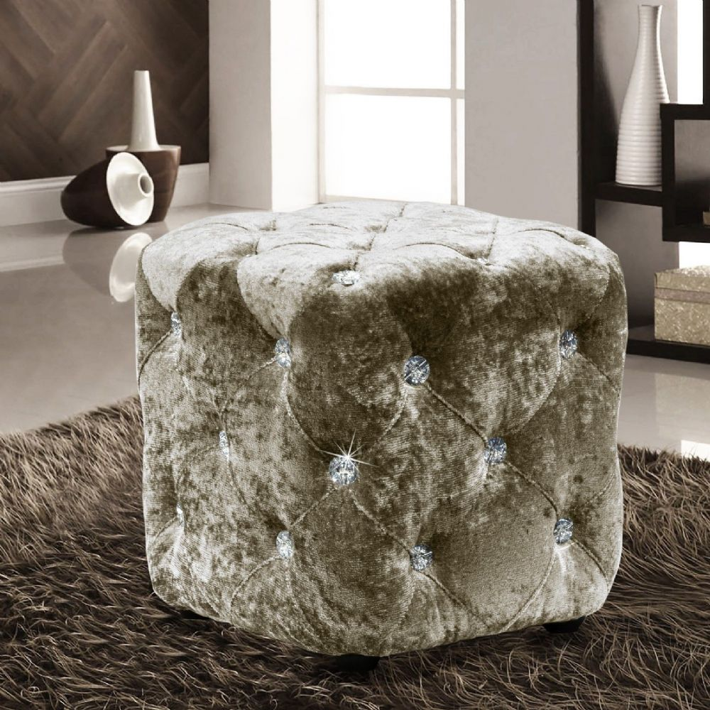 NATURAL LUXURY CRUSHED VELVET DIAMANTE FOOT STOOL CUSHION CUBE POUFFE DESIGNER FURNITURE